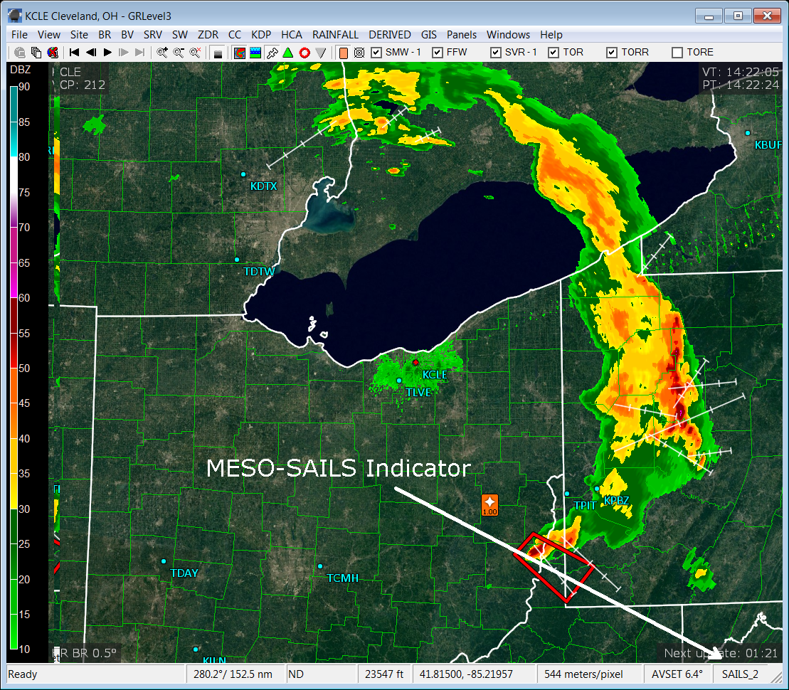 Figure 4: NWS radar image showing MESO-SAILS.